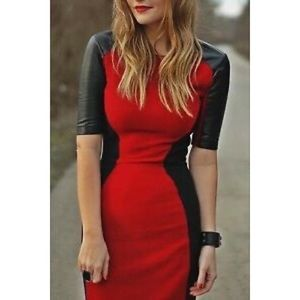 Red/Black Color Block Midi Dress, Leather Sleeves
